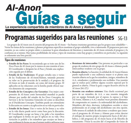 Formas de Programar – Programas sugeridos para las reuniones SG-13 (OSM)