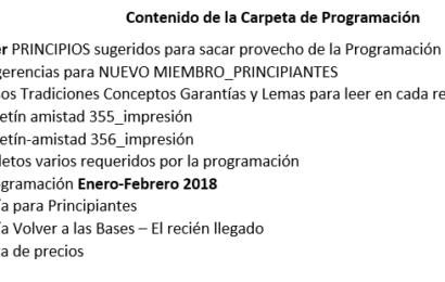 Programación Enero y Febrero 2019